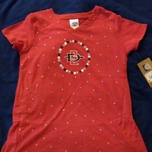 Girls San Diego State T-Shirt V-Neck, Med. Large